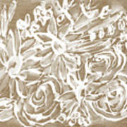 Wood And White Floral- Art By Linda Woods Art Print