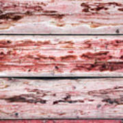 Wood Background With Faded Red Paint Art Print