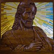 Wood Carving Of Jesus Art Print