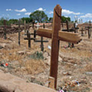 Wood Crosses In Taos Cemetery Art Print