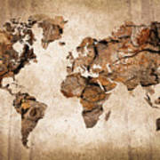 Wood World Map Art Print by Delphimages Photo Creations