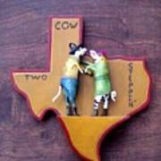 Woodcrafted 2 Cow Steppin' Art Print by Michael Pasko