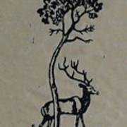 Woodcut Deer Art Print