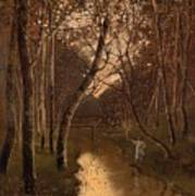 Wooded Landscape With Angler On The Riverside Art Print