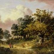 Wooded Landscape With Woman And Child Walking Down A Road  Art Print