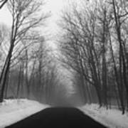 Wooded Winter Road Art Print
