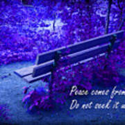 Wooden Bench With Inspirational Text Art Print