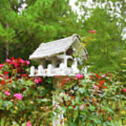 Wooden Bird House On A Pole 3 Art Print