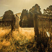 Wooden Fence With An Open Gate Art Print