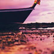 Wooden Fishing Thai Boat Sunken On The Rocky Beach During Tide Art Print