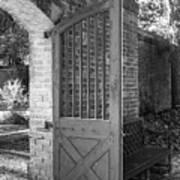 Wooden Garden Door B W Art Print