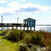 Wooden Pier With Pavilion Art Print