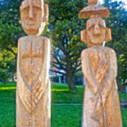 Wooden Sculptures In Central Park In Bariloche-argentina Art Print