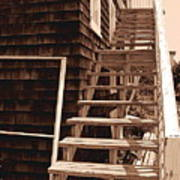Wooden Stairs In Sepia Art Print