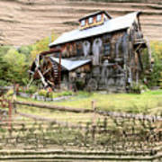 Wooden Water Mill Art Print