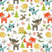 Woodland Animals Art Print by Tiffany Dawn Smith