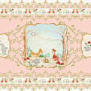 Woodland Fairy Tale - Blush Pink Forest Gathering Of Woodland Animals Art Print