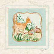Woodland Fairy Tale - Deer Fawn Baby Bunny Rabbits In Forest Art Print