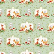 Woodland Fairy Tale - Mint Green Sweet Animals Fox Deer Rabbit Owl - Half Drop Repeat Art Print