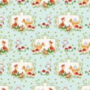 Woodland Fairy Tale - Sweet Animals Fox Deer Rabbit Owl - Half Drop Repeat Art Print
