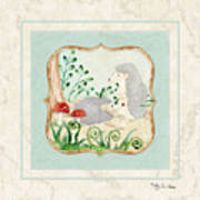 Woodland Fairy Tale - Woodchucks In The Forest W Red Mushrooms Art Print
