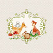 Woodland Fairytale - Grey Animals Deer Owl Fox Bunny N Mushrooms Art Print