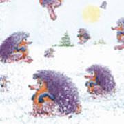 Woolly Snow Hoppers Art Print