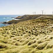 Woolnorth Wind Farm And Ocean Landscape Tasmania Art Print