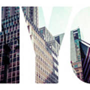 Word Nyc Manhattan Skyline At Sunset, New York City  Art Print