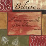 Words To Live By Believe Art Print