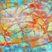 Work 00099 Abstraction In Cyan, Blue, Orange, Red Art Print by Alex Hall