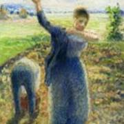 Workers In The Fields 1896-97 Camille Pissarro Art Print