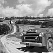 Down On The Farm- International Harvester In Black And White Art Print