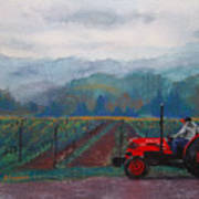 Working The Vineyard Art Print by Becky Chappell