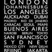 World Cities Bus Roll Print by Michael Tompsett
