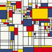 World Map Abstract Mondrian Style Art Print by Michael Tompsett