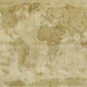 World Map Antique Style Art Print by Michael Tompsett