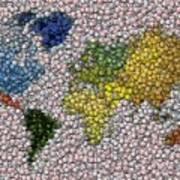 World Map Bottle Cap Mosaic Art Print