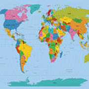 World Map Bright Art Print