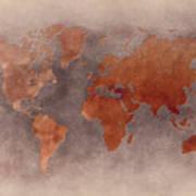 World Map Brown Art Print
