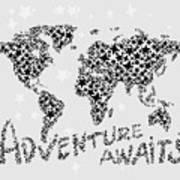World Map For Kids Black Star Art Print