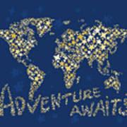 World Map Gold Yellow Star Navy Blue Art Print