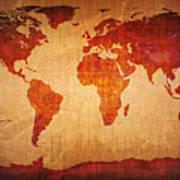 World Map Grunge Style Art Print