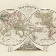 World Map In Two Hemispheres Art Print