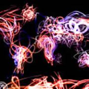 World Map Light Writing Art Print