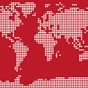 World Map Love Hearts Art Print by Michael Tompsett