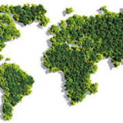 World Map Made Of Green Trees Art Print
