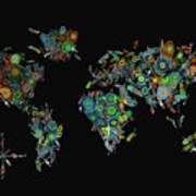 World Map Mandala Feathers 2 Art Print