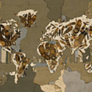 World Map Mandala Feathers 4 Art Print