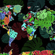 World Map Monstera Leaves  8 Art Print